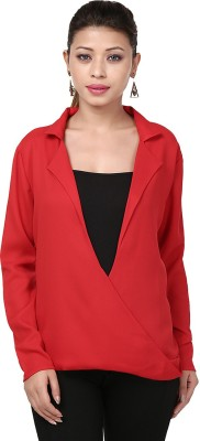 Threesome Casual Full Sleeve Solid Women's Red Top