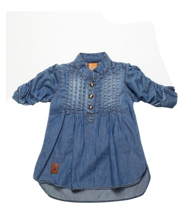 Little Kangaroo Girl's Solid Casual Denim Light Blue Shirt