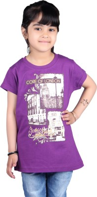 Skidlers Casual Short Sleeve Solid, Graphic Print Girl's Purple Top