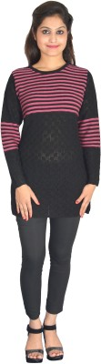 Picot Casual Full Sleeve Striped Women's Black Top