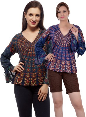 Indi Bargain Casual, Party, Formal, Beach Wear Full Sleeve Printed, Floral Print Women's Dark Blue, Light Blue Top