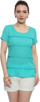 Van Heusen Casual Short Sleeve Solid Women's Blue Top