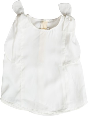 Buttercups Casual Sleeveless Solid Girl's White Top