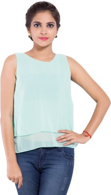 Goodwill Impex Casual Sleeveless Solid Women's Light Green Top