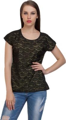 Schwof Party Short Sleeve Self Design Women's Black Top