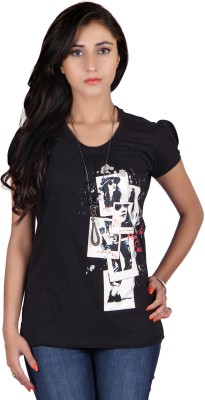 Raves Casual, Sports, Party Short Sleeve Printed Women's Black Top