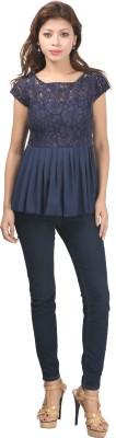 Fashionwalk Casual Cape Sleeve Solid Women's Blue Top