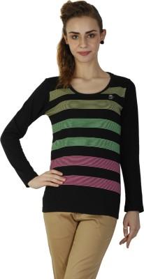 Duke Stardust Casual Full Sleeve Striped Women's Black Top
