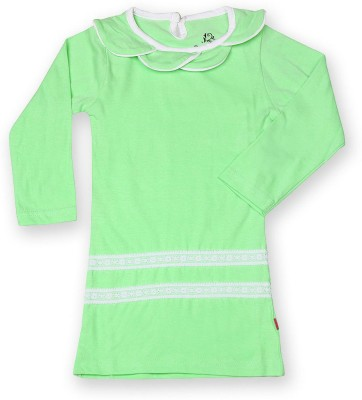 Dreamszone Casual 3/4 Sleeve Solid Girl,s Green Top