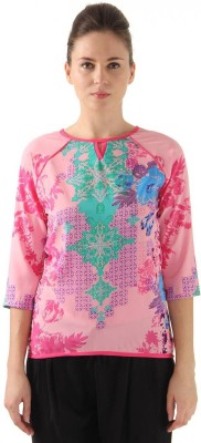 Monte Carlo Casual 3/4 Sleeve Printed Women's Multicolor Top