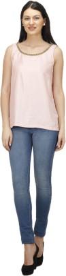 Splendent Casual Sleeveless Solid Women's Pink Top
