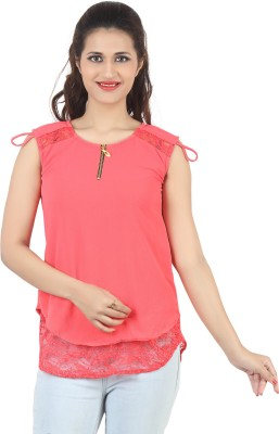 FamGlam Casual Sleeveless Self Design Women's Pink Top