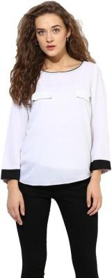 La Firangi Casual Full Sleeve Solid Women's White Top at flipkart