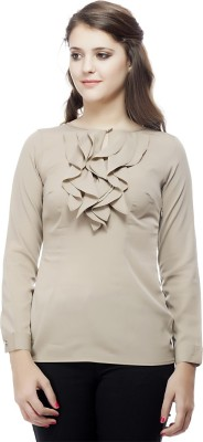 ORIANNE Casual Full Sleeve Solid Women's Brown Top