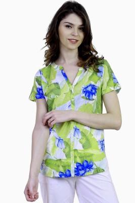 Caribbean Joe Beach Wear Short Sleeve Printed Women's Green Top