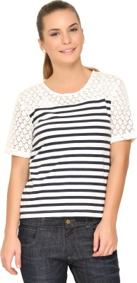Alibi By Inmark Casual Short Sleeve Striped Women,s Multicolor Top