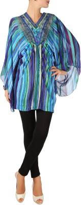 Karmik Casual Kimono Sleeve Striped Women's Blue Top