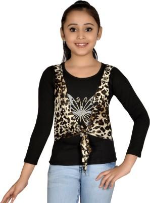 ABHIRA Casual 3/4 Sleeve Embellished Girl's Black Top