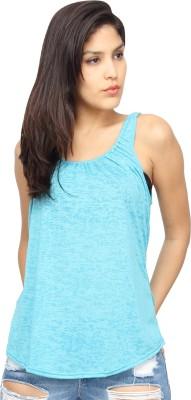 Americanlaundry Casual Sleeveless Solid Women's Blue Top