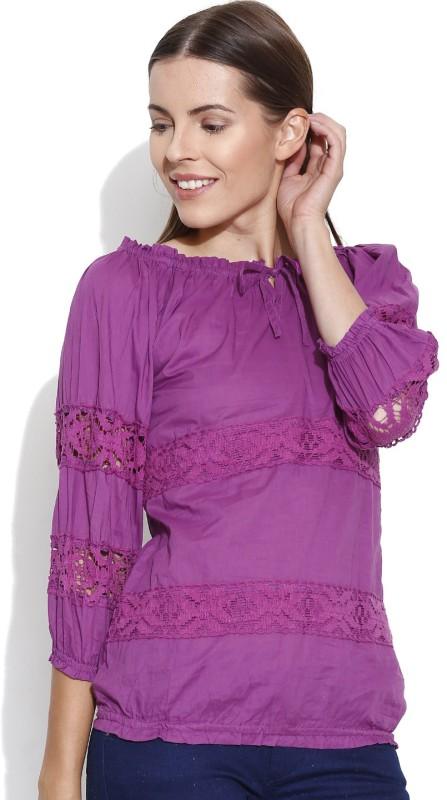 Shopaholic Casual 3/4th Sleeve Solid Women's Purple Top