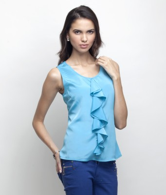 Primo Knot Casual Sleeveless Solid Women's Blue Top
