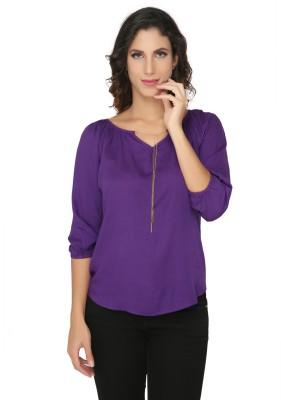 Philigree Casual 3/4 Sleeve Solid Women,s Purple Top