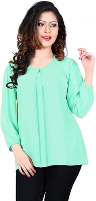 Eshantraders Casual 3/4 Sleeve Solid Women's Green Top