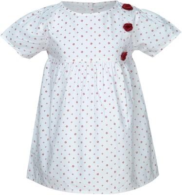 Nino Bambino Casual Puff Sleeve Printed Girl's Red, White Top