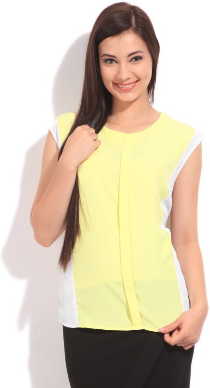 Arrow Casual Short Sleeve Solid Women's White, Yellow Top