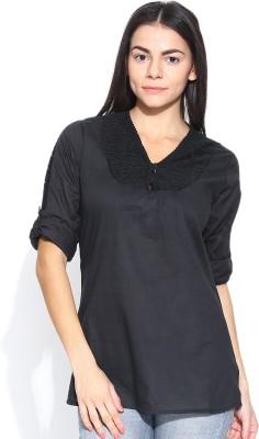 U&F Casual Full Sleeve Solid Women's Black Top