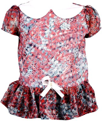 Toddla Casual Short Sleeve Printed Girl's Red Top