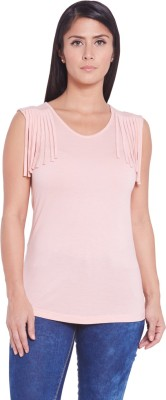 Globus Casual Sleeveless Solid Women's Pink Top