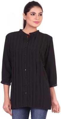 Pink Nine Casual 3/4 Sleeve Solid, Embellished Women's Black Top