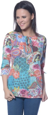 Florrie Fusion Casual 3/4 Sleeve Paisley Women's Blue Top