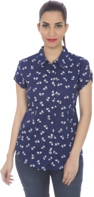 Clodentity Casual Short Sleeve Printed Women's Blue, White Top