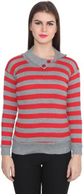 TeeMoods Casual Full Sleeve Striped Women's Red, Grey Top