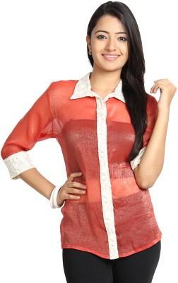 Vandanaraj Casual 3/4 Sleeve Solid Women's Orange, Red Top