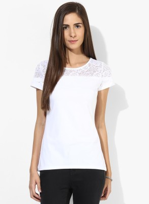 T-shirt Company Casual Short Sleeve Solid Women's White Top