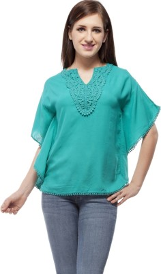 Peptrends Casual Bell Sleeve Embroidered Women's Light Green Top