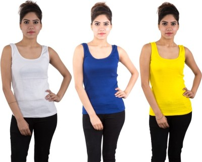 Piftif Casual Sleeveless Solid Women's Multicolor Top