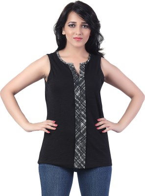 Bfly Casual Sleeveless Printed Women's Black Top