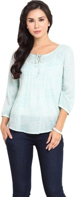 Pryma Donna Casual 3/4 Sleeve Printed Women's Light Green Top