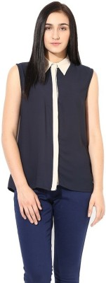 La Firangi Casual Sleeveless Solid Women's Dark Blue Top