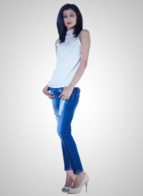 Youstyleme Casual Sleeveless Self Design Women's White Top