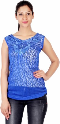 ASH Party Sleeveless Solid Women's Blue Top
