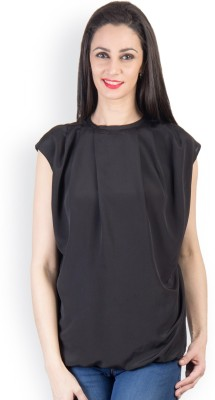 Tops and Tunics Casual Sleeveless Solid Women's Black Top