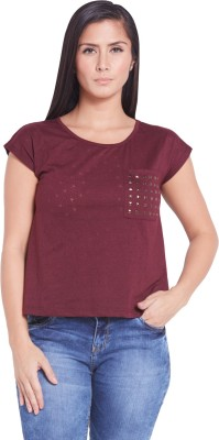 Globus Casual Short Sleeve Solid Women's Maroon Top