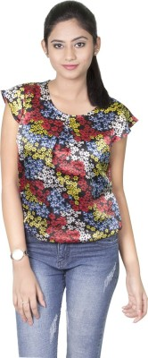 Dewberries Casual Cape Sleeve Printed Women's Multicolor Top