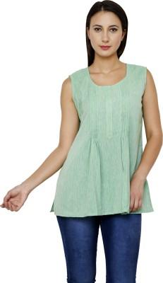 Dhrohar Casual Sleeveless Solid Women,s Light Green Top