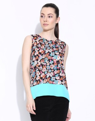 Popnetic Casual Sleeveless Printed Women's Multicolor Top